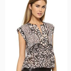 Rebecca Taylor Sleeveless Mix Print Silk Blouse